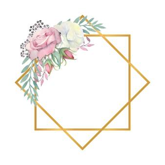 Acquerello rose bianche e rosa fiori foglie verdi bacche in una cornice a forma di diamante oro