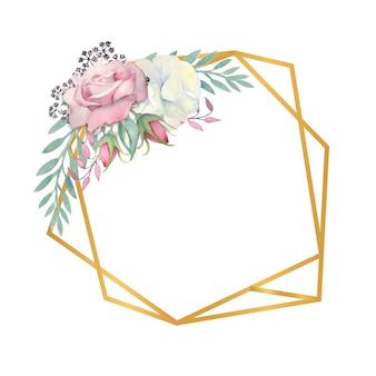 Acquerello rose bianche e rosa fiori foglie verdi bacche in una cornice poligonale oro
