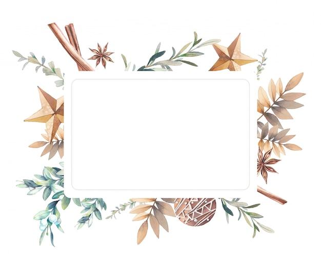 Cornice invernale ad acquerello combinazione di elementi botanici e decorativi disegnati a mano. rami con bacche, abete rosso, agrifoglio, stelle, spezie in stile vintage