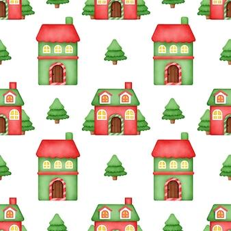 Modelli senza cuciture del villaggio invernale dell'acquerello.