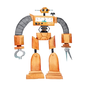 Carattere di android amichevole giallo dell'acquerello con due antenne fumetto del robot dell'acquerello