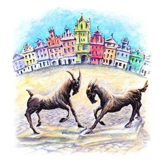 Schizzo di matite acquerellate di capre di poznan sulla piazza del mercato vecchio wielkopolska polonia