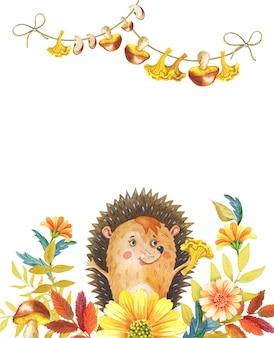 Riccio dell'acquerello in fiori e foglie