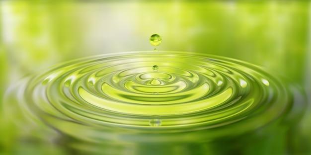 Primo piano della spruzzata di waterdrop sull'illustrazione 3d della superficie dell'acqua