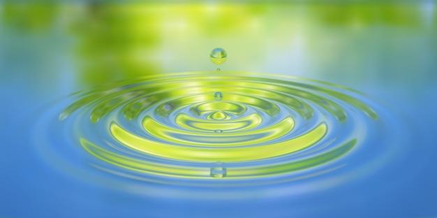 Primo piano della spruzzata di waterdrop sull'illustrazione 3d della superficie dell'acqua Foto Premium