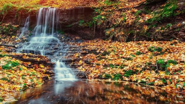 Cascata alla luce del sole d'autunno. mondo della bellezza. carpazi. ucraina. europa