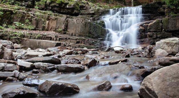 Cascata su un fiume di montagna nella foresta