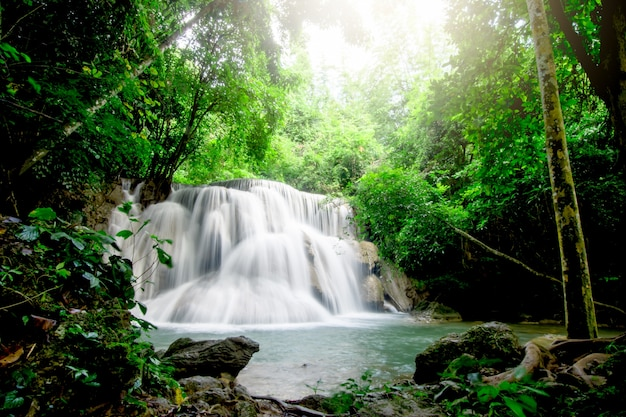 Cascate in abbondanti foreste nel parco nazionale di khuean srinagarindra