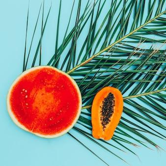 Anguria e papaya flat lay minimal arte vegana