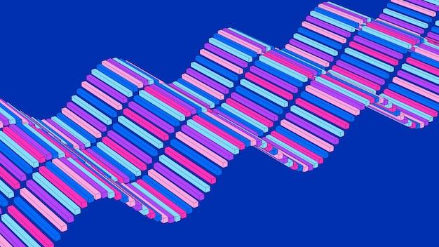 Sventolando blocchi colorati. sfondo blu. effetto disegno schizzo. illustrazione astratta, rendering 3d.
