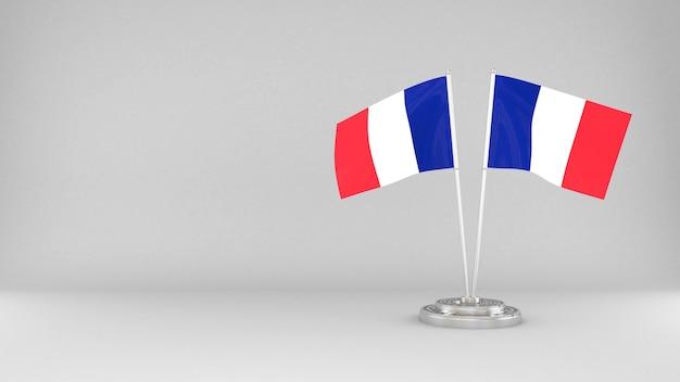 Sventolando la bandiera della francia 3d rendering sfondo