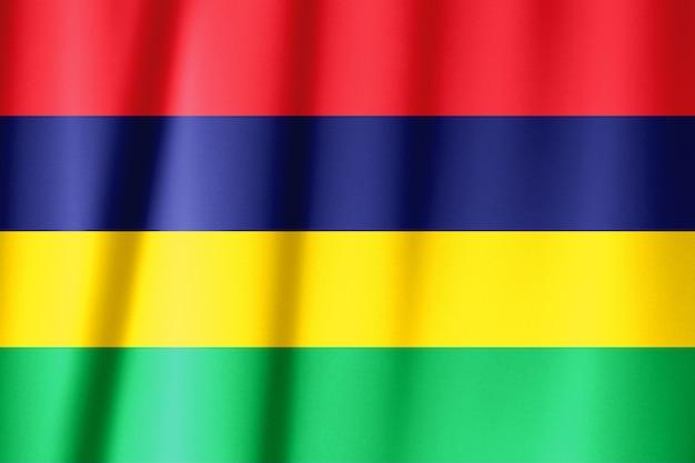 Sventolando la bandiera di mauritius. la bandiera ha una vera trama del tessuto.