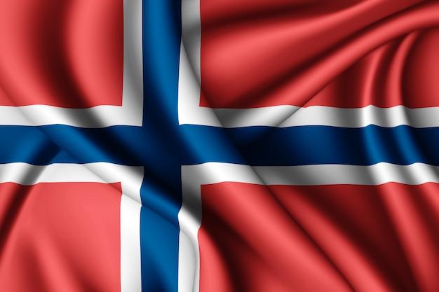 Sventolando la bandiera della norvegia