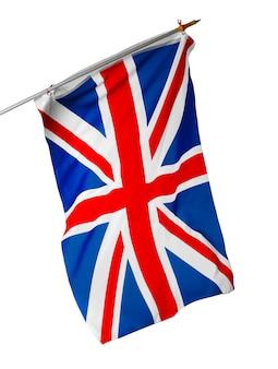 Sventolando la bandiera del regno unito isolato su sfondo bianco