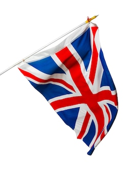 Sventolando la bandiera del regno unito isolato su bianco