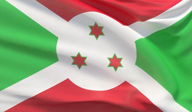 Sventolando la bandiera nazionale del burundi. rendering 3d di primo piano altamente dettagliato ondulato.