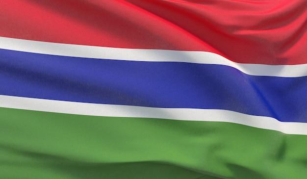 Sventolando la bandiera nazionale del gambia. rendering 3d di primo piano altamente dettagliato ondulato.