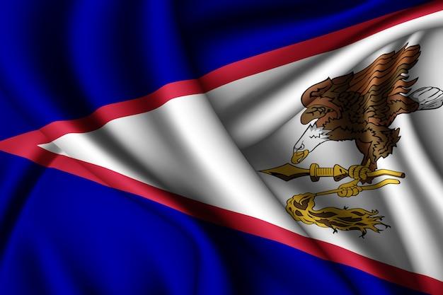 Sventolando la bandiera di seta delle samoa americane Foto Premium