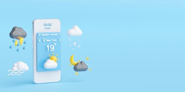 Concetto di previsioni del tempo, smartphone visualizza i simboli del widget dell'applicazione di previsioni del tempo, illustrazione 3d