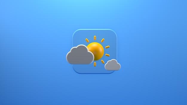 Icone delle previsioni del tempo con rendering 3d della nuvola
