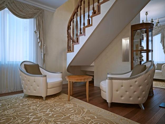 Armchais di cotone lino grigio esposto all'aria in salotto.