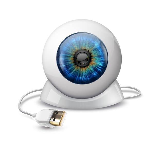 Web camera a forma di bulbo oculare