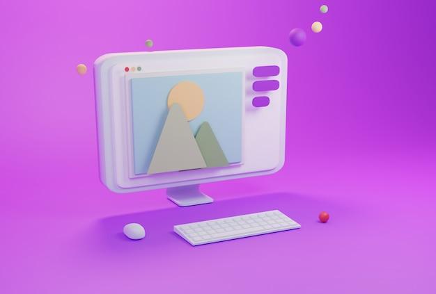 Rendering 3d del processo creativo dello studio di progettazione di sviluppo di web design