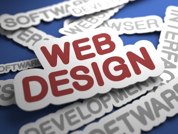 Testo di web design con attenzione selettiva. rendering 3d.