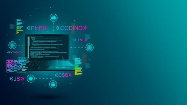 Sviluppo web, codifica e programmazione di un sito o di un'applicazione su laptop. linguaggi di programmazione.