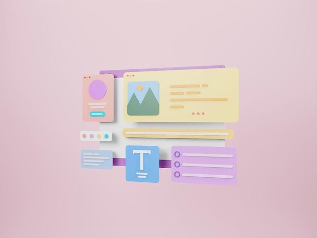 Progettazione di interfacce di pagine web web design e concetto di sviluppo web ottimizzazione dell'interfaccia utente rendering 3d