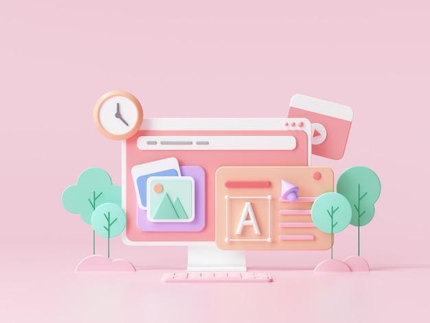 Web ui-ux design, concetto di sviluppo web. web building e marketing per l'ottimizzazione seo. illustrazione di rendering 3d