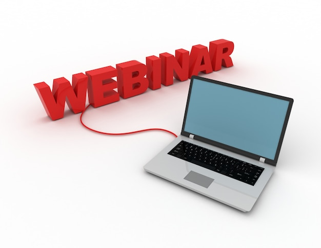 Concetto di webinar. laptop collegato al webinar di word. 3d reso illustrazione