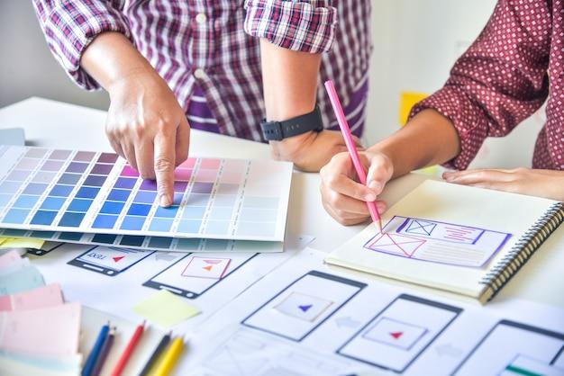 Designer di siti web sviluppo di applicazioni per la pianificazione creativa