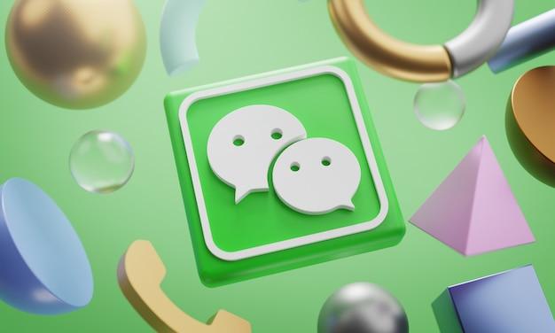 Logo di wechat intorno a 3d che rende il fondo astratto di forma