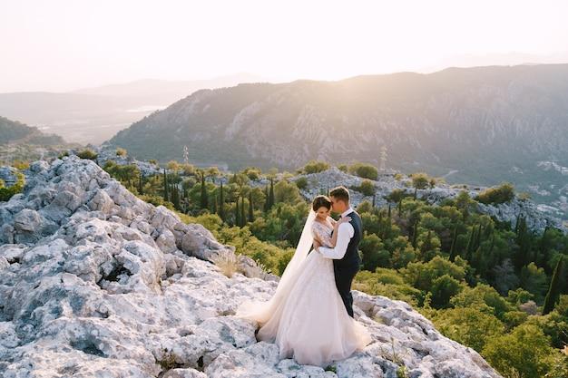 Una coppia di sposi si trova in cima a una montagna