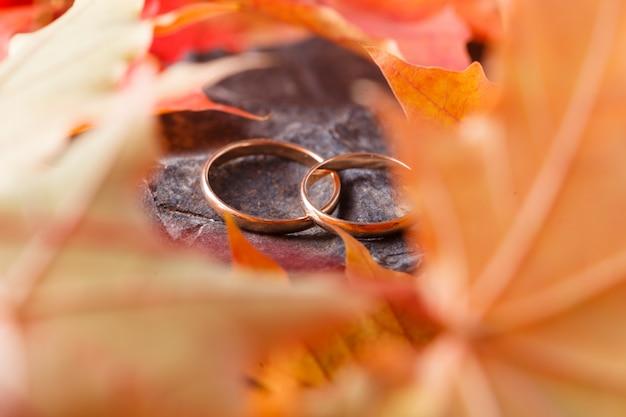 Decorazione di nozze. foglie rosse sulla pietra stagionata con fedi nuziali