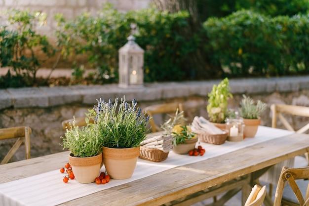 Matrimonio tavolo da pranzo ricevimento al tramonto fuori antichi tavoli rettangolari in legno con straccio runner