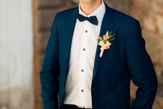 Fiore all'occhiello del matrimonio sposo