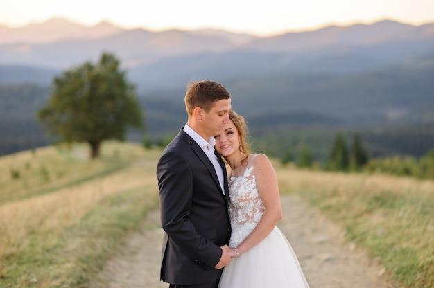 Fotografia di matrimonio in montagna. gli sposi stanno abbracciando. avvicinamento. la sposa guarda nella cornice.