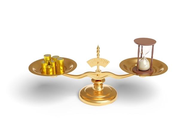 Pesatrice con monete e una clessidra sui loro piatti isolati.