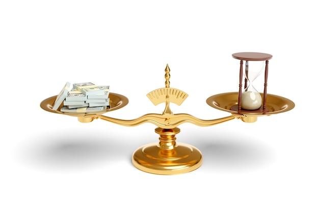 Pesatrice con mazzette di dollari e una clessidra sui loro piatti isolati.