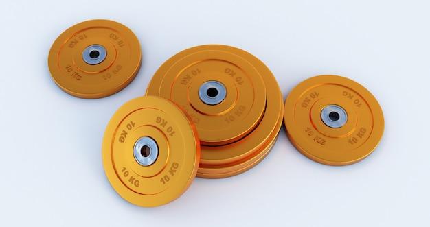 Peso per lo sport isolato su sfondo bianco, attrezzatura da palestra dorata, rendering 3d