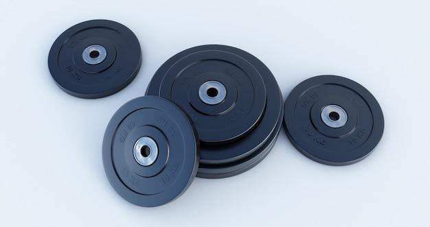 Peso per lo sport isolato su sfondo bianco, attrezzatura da palestra, rendering 3d