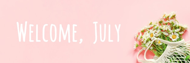 Benvenuto, testo di luglio. mazzo della camomilla bianca nella borsa riutilizzabile della maglia di eco di acquisto sul rosa