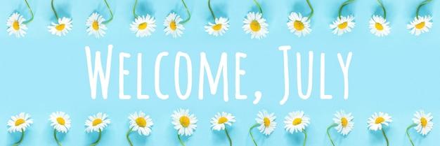 Benvenuto, testo di luglio in cornice da fiori di camomilla su sfondo blu. concetto ciao ora legale. bandiera.