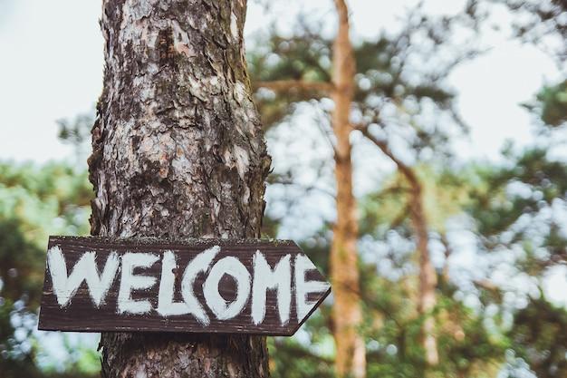 Benvenuto cantare sulle lettere bianche dell'albero sulla tavola di legno