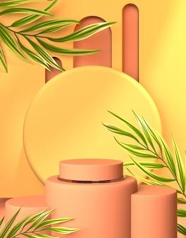 Benvenuto sul palco del podio per la presentazione del prodotto primaverile con il rendering 3d del fondo del fiore giallo