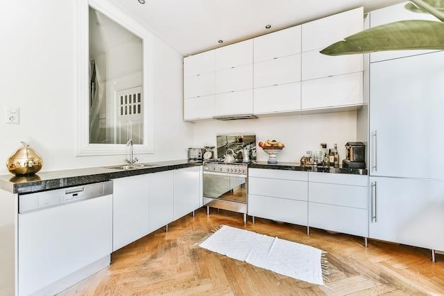 Interno di una piccola cucina domestica ben organizzata con lavello e mobili chiari con stufa in appartamento urbano