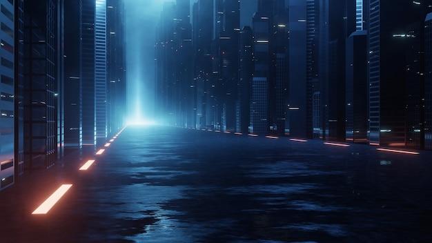 Strada di superficie bagnata che conduce alla mega città di notte