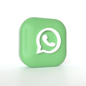 Logo dell'applicazione whatsapp con rendering 3d